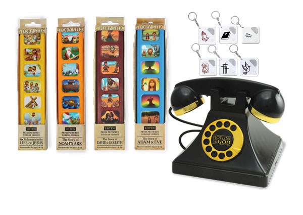 Story Stix, audio keychains, and Hotline to God phone